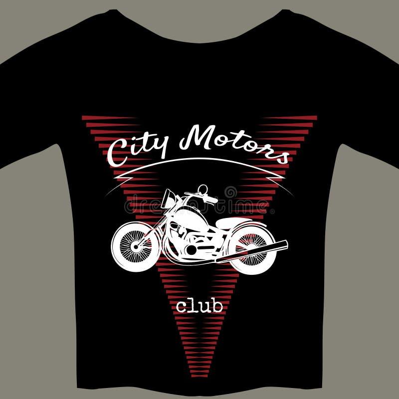 Plantilla del diseño de la motocicleta para la camiseta stock de ilustración