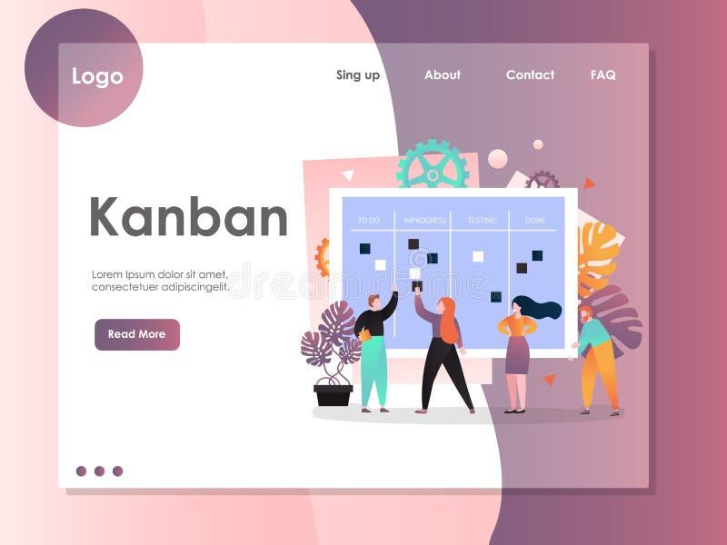 Plantilla del diseño de la página del aterrizaje de la página web del vector de Kanban stock de ilustración