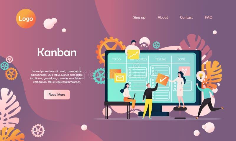 Plantilla del diseño de la página del aterrizaje de la página web del vector de Kanban ilustración del vector