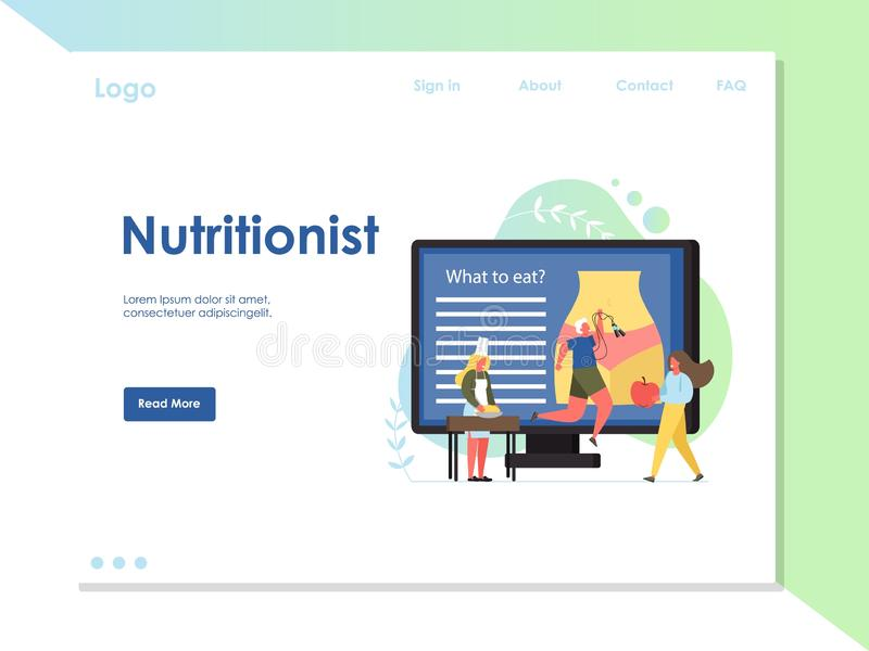 Plantilla del diseño de la página del aterrizaje de la página web del vector del nutricionista stock de ilustración