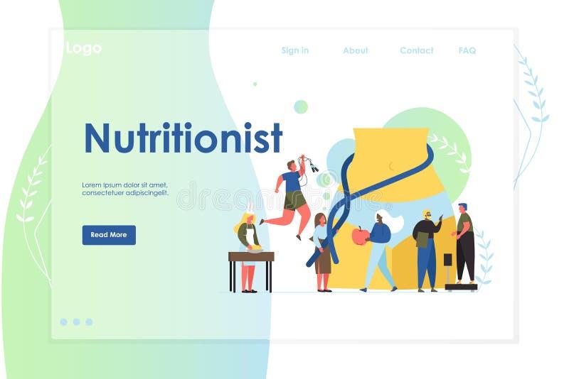 Plantilla del diseño de la página del aterrizaje de la página web del vector del nutricionista libre illustration