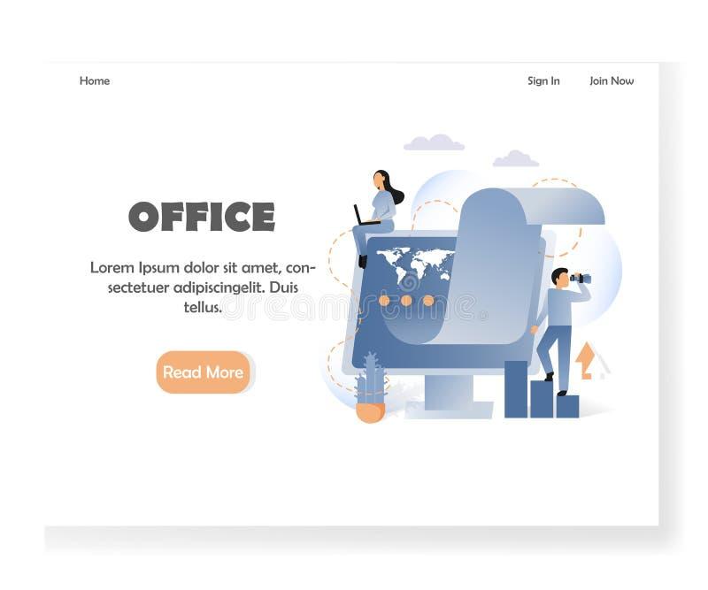 Plantilla del diseño de la página del aterrizaje de la página web del vector de la oficina de negocios libre illustration