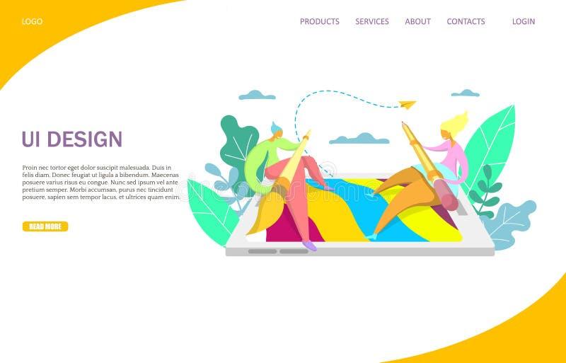 Plantilla del diseño de la página del aterrizaje de la página web del vector del diseño de UI libre illustration
