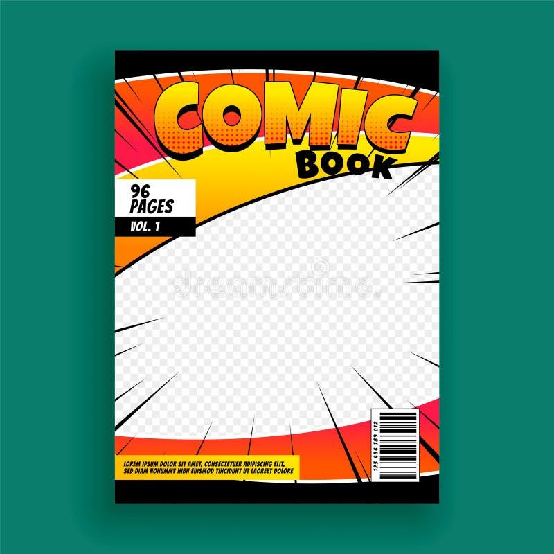 Plantilla del diseño de la página de portada de revista del cómic stock de ilustración