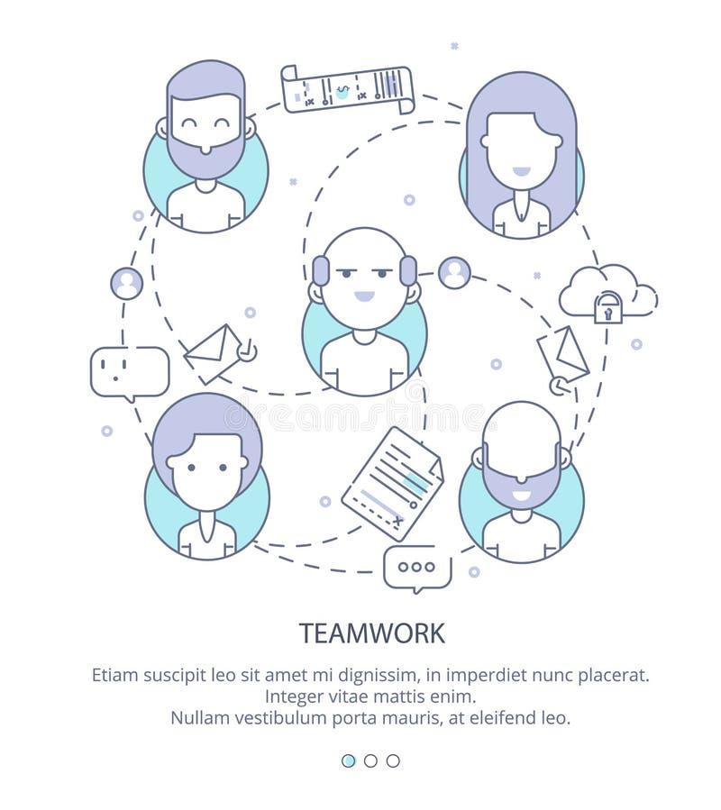 Plantilla del diseño de la página web del perfil de compañía, trabajo en equipo, flujo de trabajo del negocio corporativo, oportu libre illustration