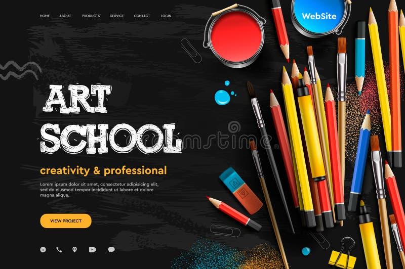 Plantilla del diseño de la página web para Art School, estudio, curso, clase, educación Concepto del ejemplo del vector del dise? stock de ilustración