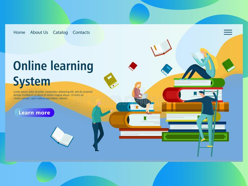 Plantilla del diseño de la página web para la educación en línea, cursos de la distancia, aprendizaje electrónico, stock de ilustración