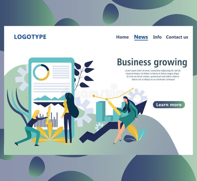 Plantilla del diseño de la página web para el crecimiento del negocio Página de la página web stock de ilustración