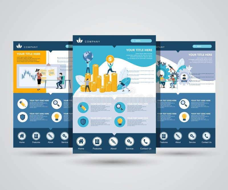 Plantilla del diseño de la página web para el plan empresarial, el análisis y las estadísticas, formación de equipo, consultando  libre illustration
