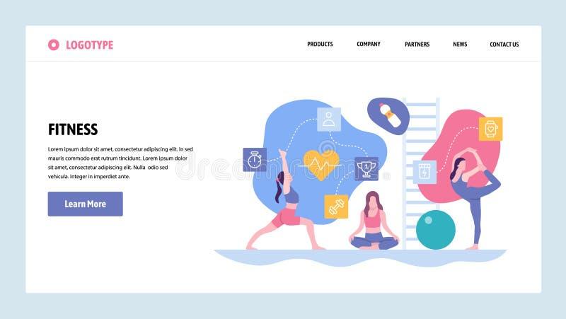 Plantilla del diseño de la pendiente del sitio web del vector Ejercicio de la aptitud del deporte y clase de la yoga Conceptos de stock de ilustración