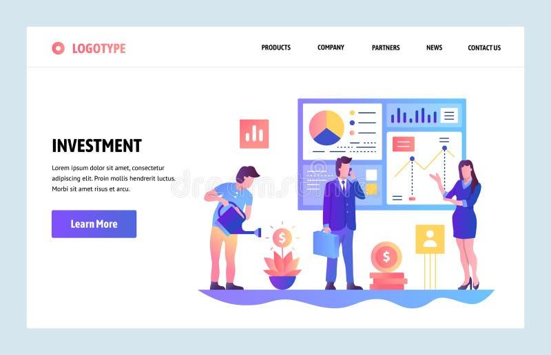 Plantilla del diseño de la pendiente del sitio web del vector Inversión empresarial e informe financiero del ROI Conceptos de ate ilustración del vector