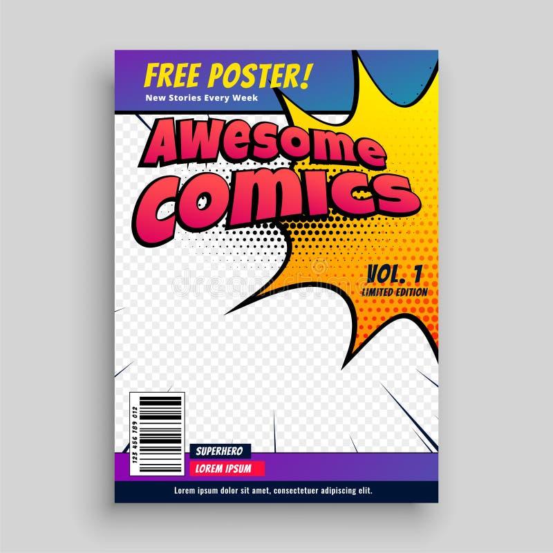 Plantilla del diseño de la revista de la cubierta de cómic ilustración del vector
