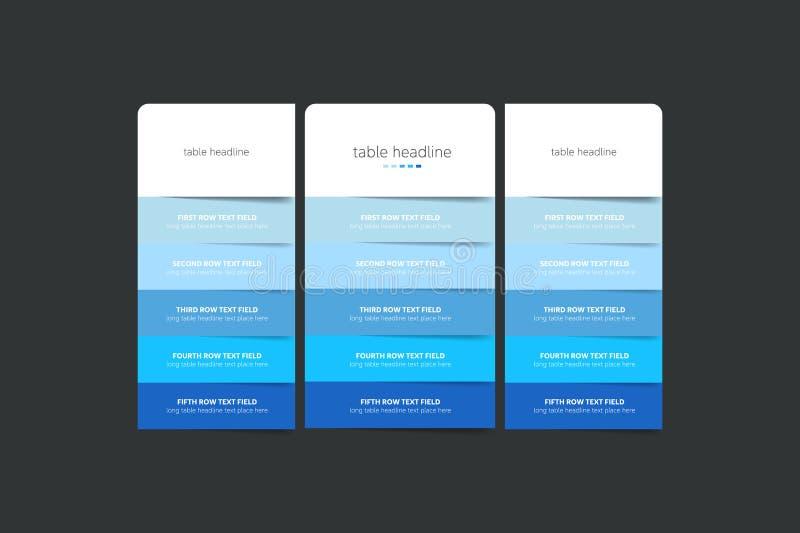 Plantilla del diseño de la tabla de la tasación para el negocio stock de ilustración