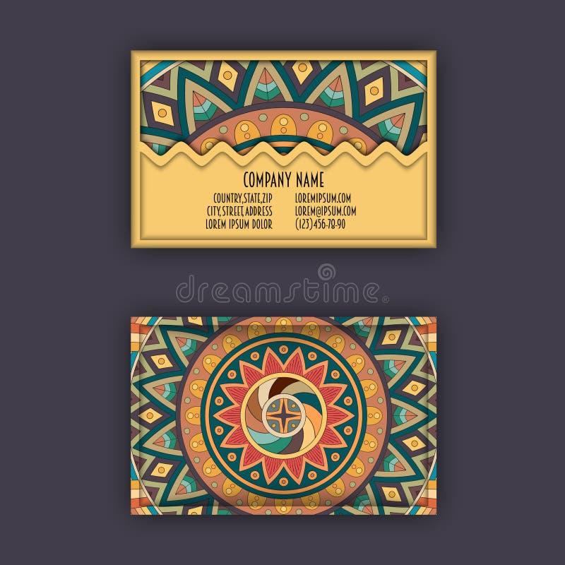 Plantilla del diseño de la tarjeta de visita del vector con el modelo geométrico ornamental de la mandala Elementos decorativos d ilustración del vector