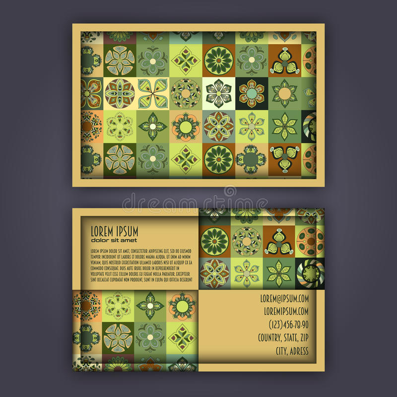 Plantilla del diseño de la tarjeta de visita del vector con m geométrico ornamental ilustración del vector
