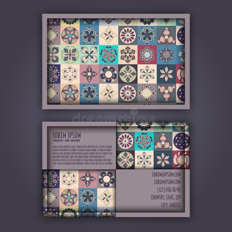 Plantilla del diseño de la tarjeta de visita del vector con m geométrico ornamental libre illustration