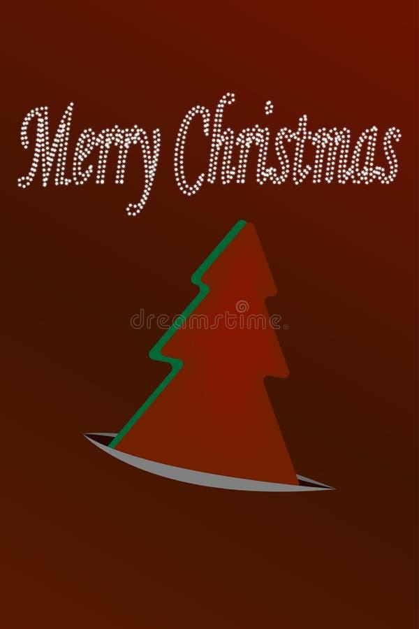 Plantilla del diseño de la tarjeta de felicitación del árbol del papel de Feliz Navidad Ilustración del vector ilustración del vector