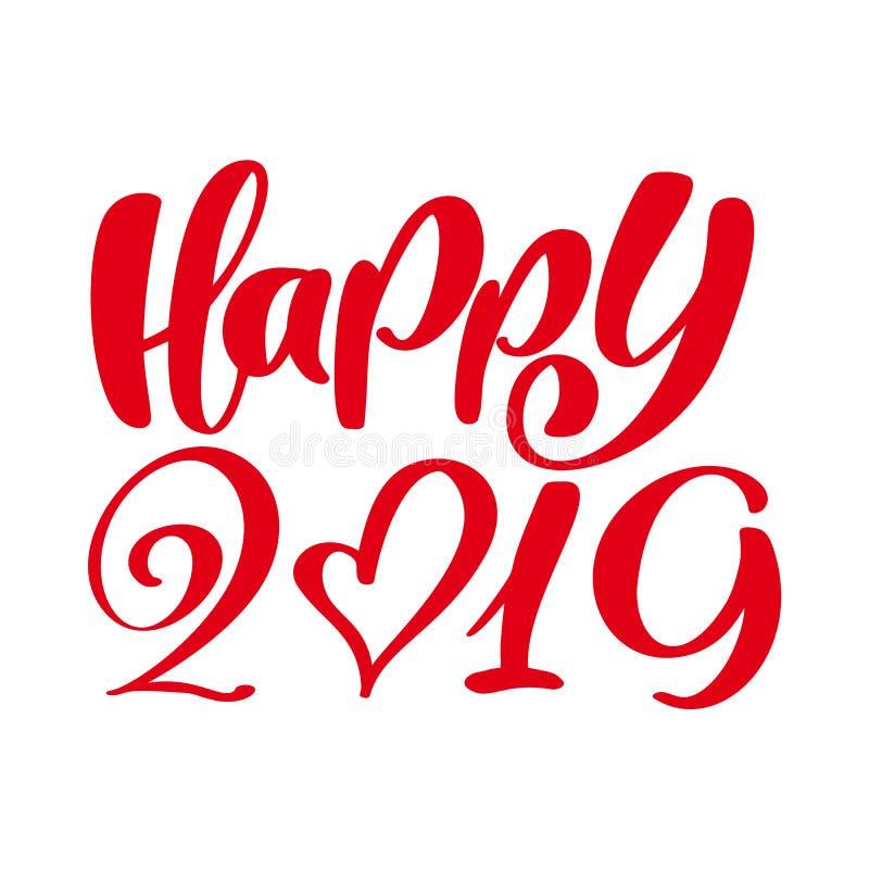 Plantilla del diseño de la tarjeta de felicitación con el texto feliz 2019 de la caligrafía Letras dibujadas mano del número 2019 stock de ilustración