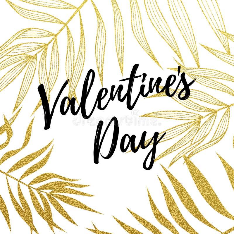 Plantilla del diseño de la tarjeta de felicitación de Valentine Day del modelo de hoja de palma de oro en el fondo blanco Celebra stock de ilustración