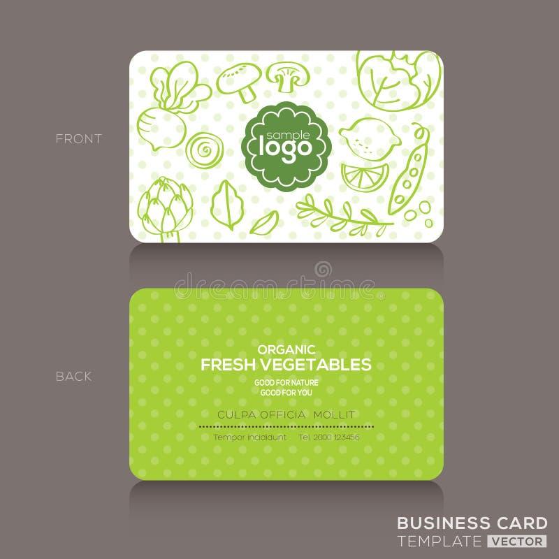 Plantilla del diseño de la tienda de comidas orgánicas o de la tarjeta de visita del café del vegano ilustración del vector