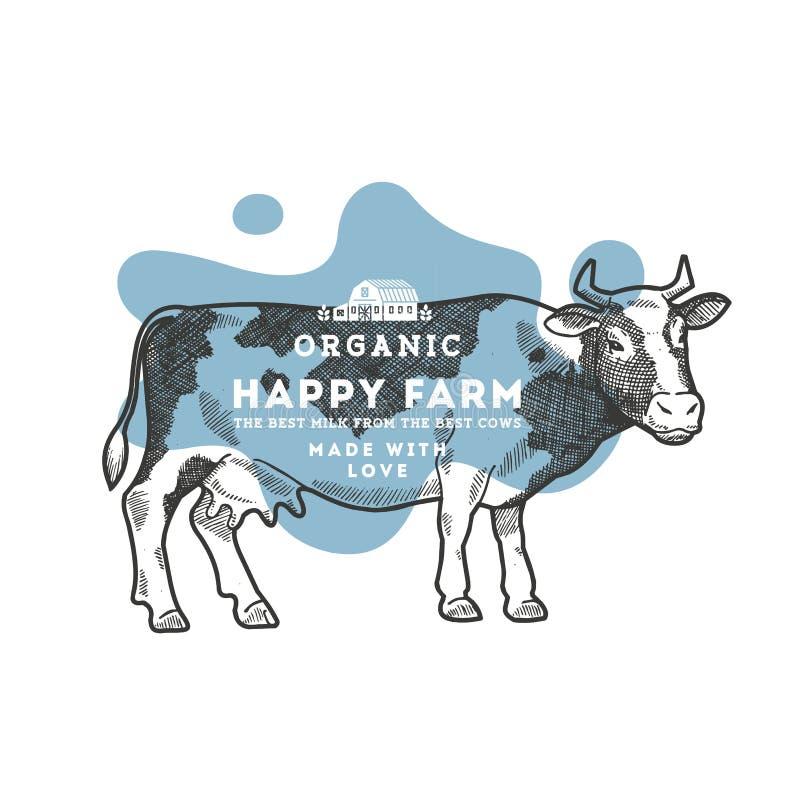 Plantilla del diseño de la vaca de la granja Ejemplo de la vaca Ilustración del vector stock de ilustración