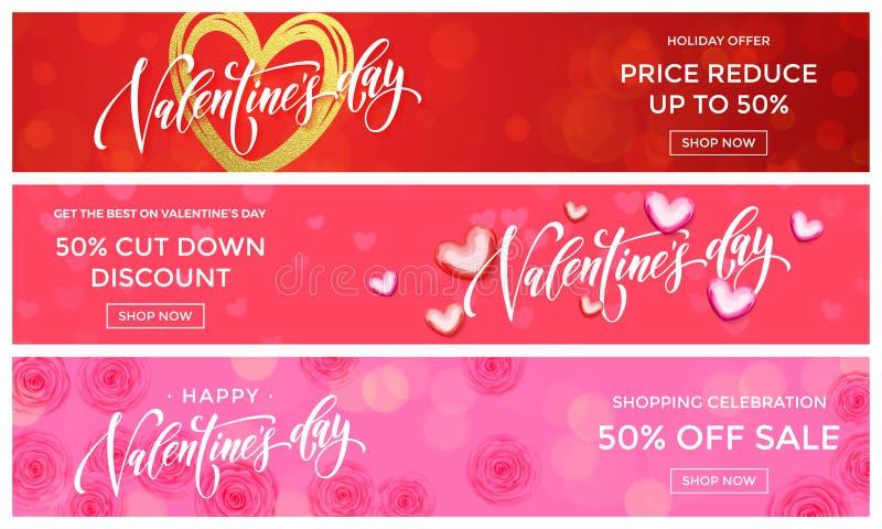 Plantilla del diseño de las banderas de la venta de Valentine Day El corazón de oro del brillo del vector en el fondo de las flor libre illustration