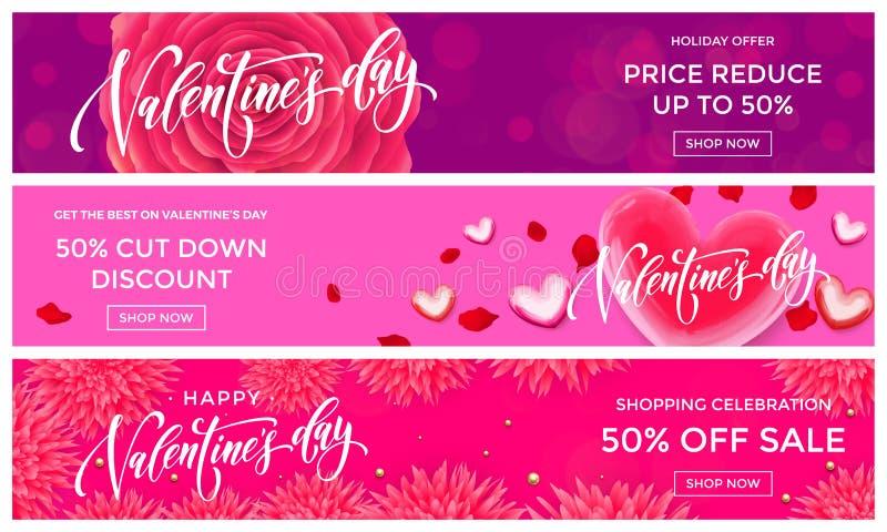 Plantilla del diseño de las banderas de la venta de Valentine Day El corazón rojo del vector en el fondo de las flores del rosa p ilustración del vector