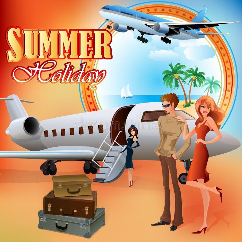 Plantilla del diseño de las vacaciones de verano; Turistas jovenes que se preparan para el viaje stock de ilustración