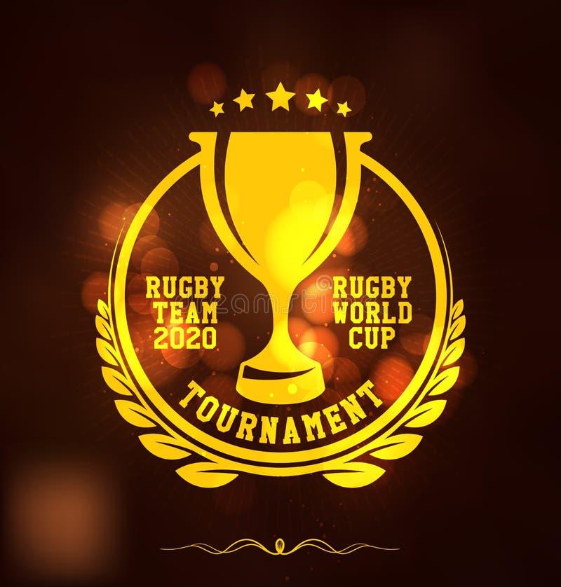 Plantilla del diseño de Logo Sport del torneo del rugbi stock de ilustración