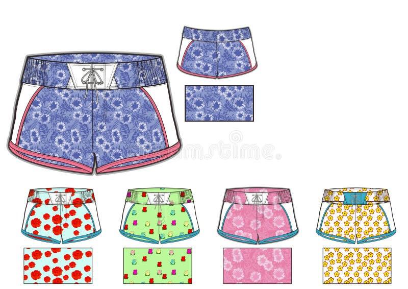 Plantilla del diseño de los pantalones cortos de Barbados de las muchachas libre illustration
