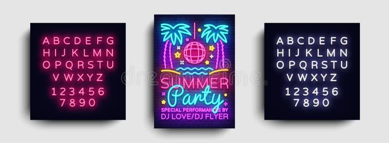 Plantilla del diseño de tarjeta de la invitación del partido del verano Cartel del partido del verano en el estilo de neón, diseñ libre illustration