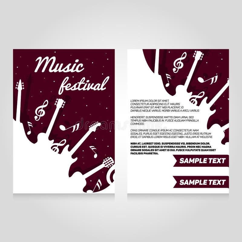 Plantilla del diseño del aviador del folleto del festival de música Ejemplo del cartel del concierto del vector Disposición de la ilustración del vector