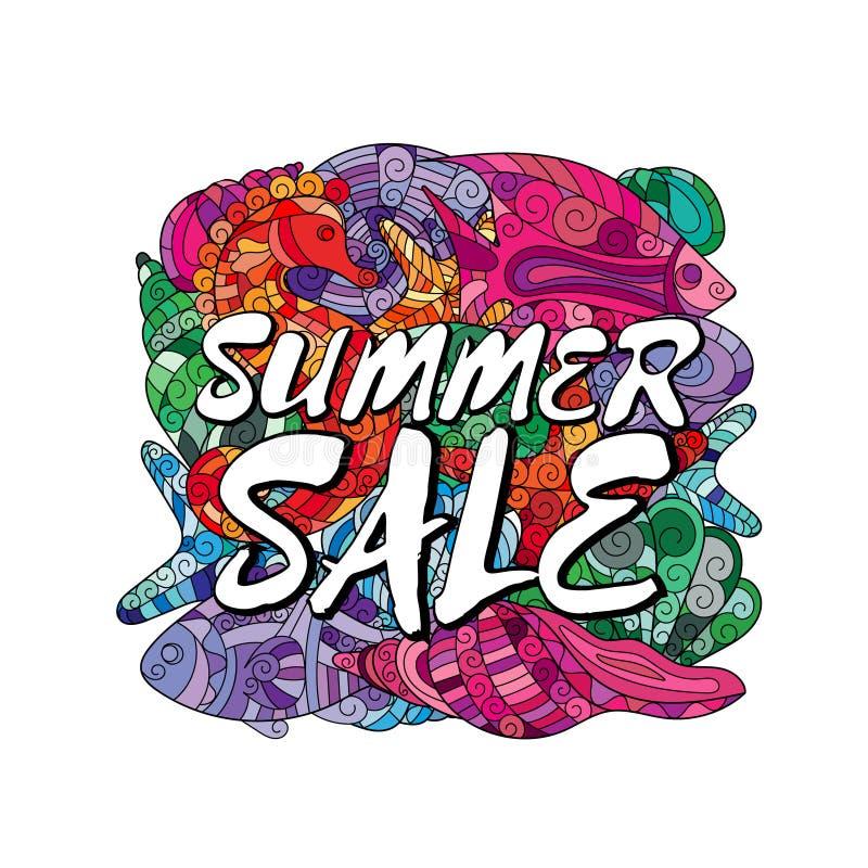 Plantilla del diseño del cartel de la venta del verano Los elementos se acodan por separado en fichero del vector ilustración del vector