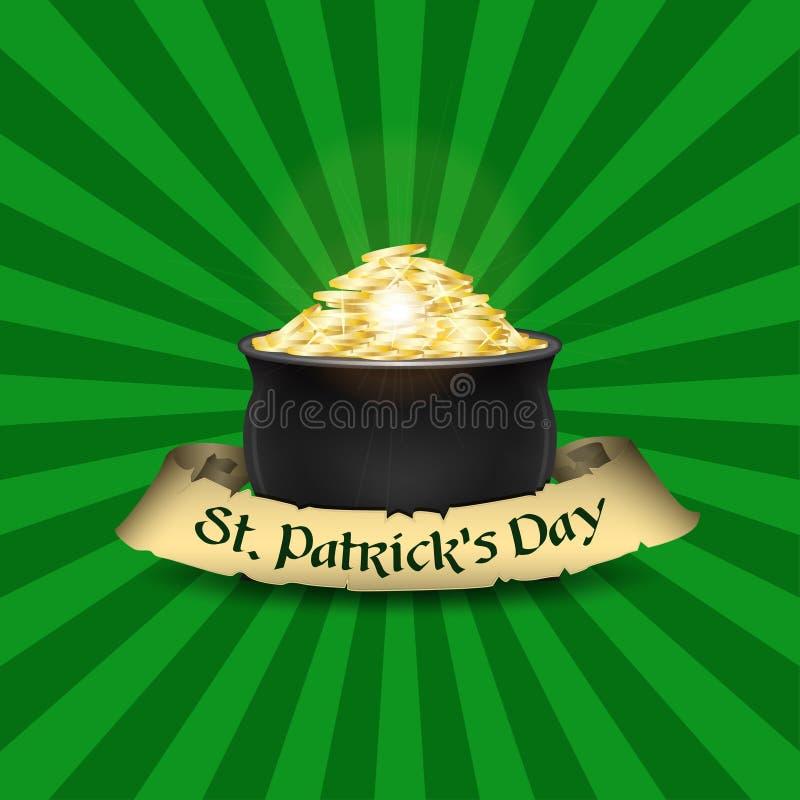 Plantilla del diseño del cartel del día del ` s de St Patrick del vector Mina de oro y cinta vieja con el texto stock de ilustración
