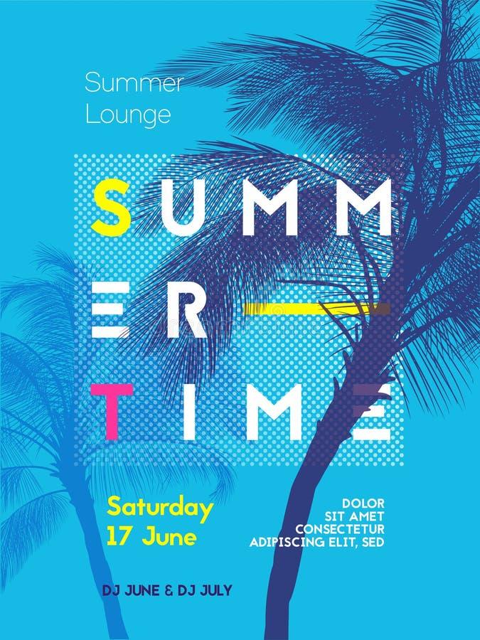 Plantilla del diseño del cartel del partido del tiempo de verano stock de ilustración
