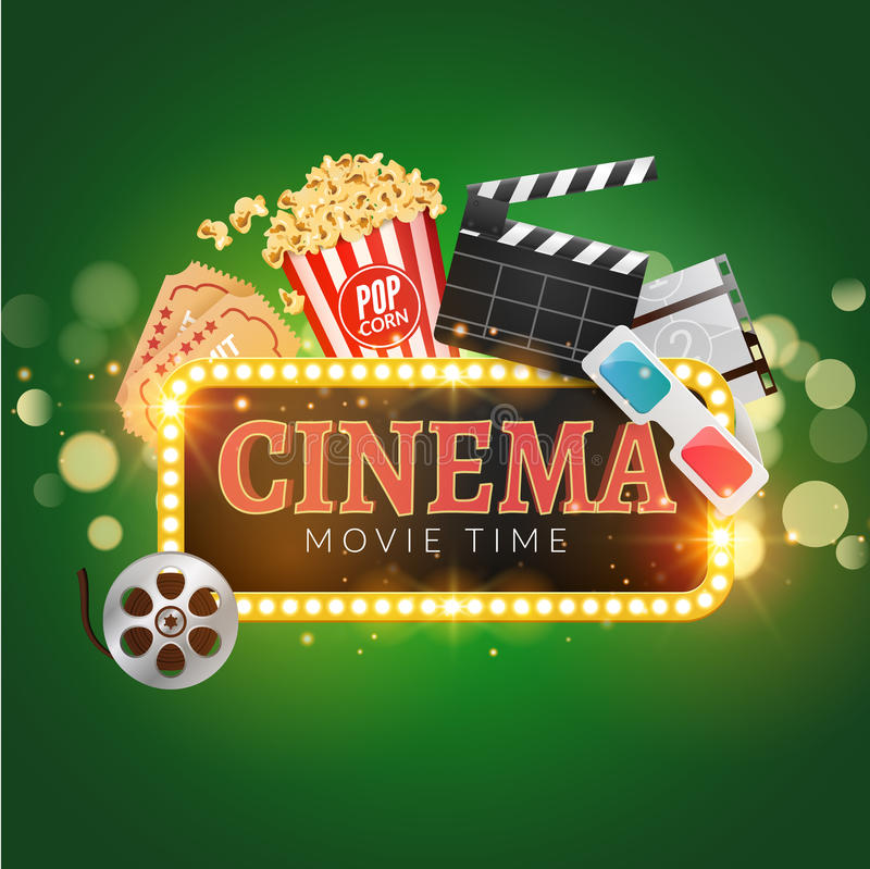 Plantilla del diseño del cartel del vector de la película del cine Palomitas, tira de película, tablilla, boletos Muestra brillan stock de ilustración