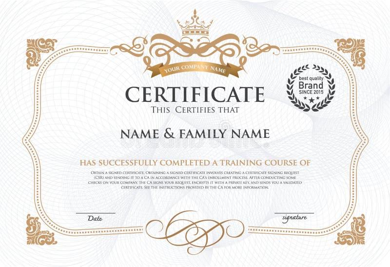 Plantilla del diseño del certificado stock de ilustración
