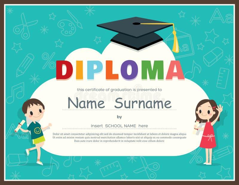 Plantilla del diseño del certificado del diploma de los niños de la escuela primaria stock de ilustración