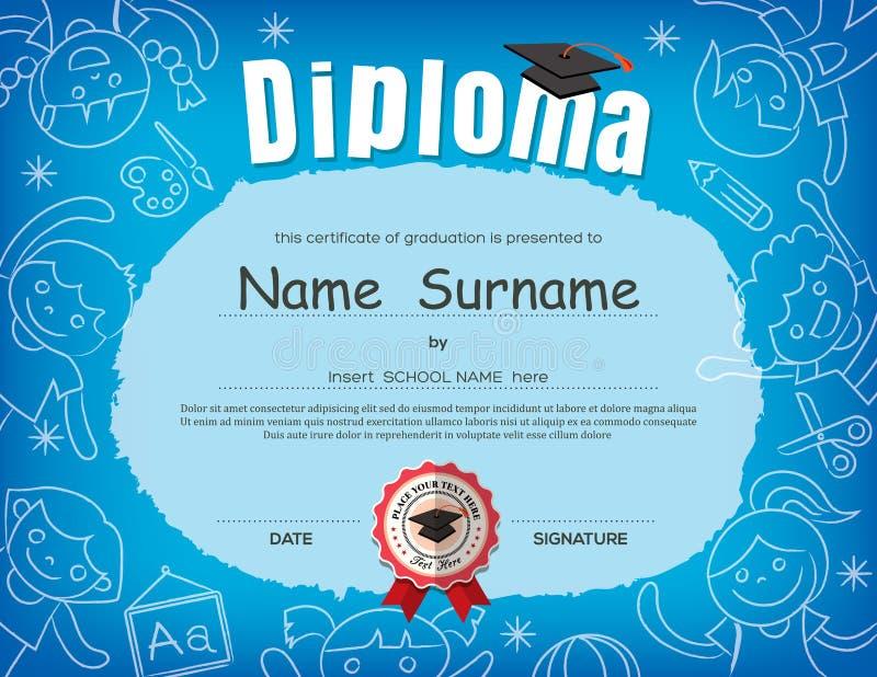 Plantilla del diseño del fondo del certificado del diploma de los niños del preescolar ilustración del vector