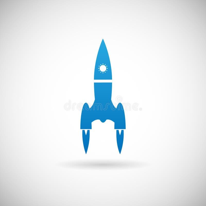 Plantilla del diseño del icono del símbolo del lanzamiento de Rocket Space Ship en Grey Background Vector Illustration libre illustration