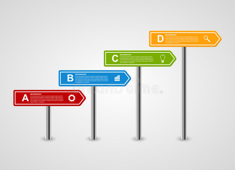 plantilla del diseño del infographics de las opciones del negocio del poste indicador de la flecha 3D ilustración del vector