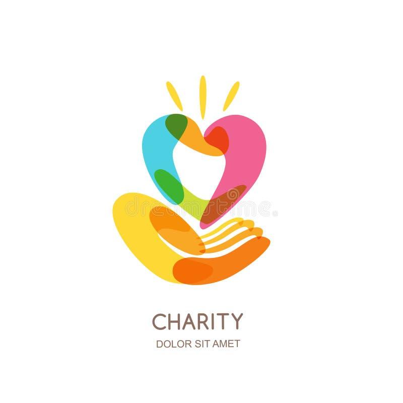 Plantilla del diseño del logotipo de la caridad Corazón colorido abstracto en la mano humana, icono aislado, símbolo, emblema Con ilustración del vector