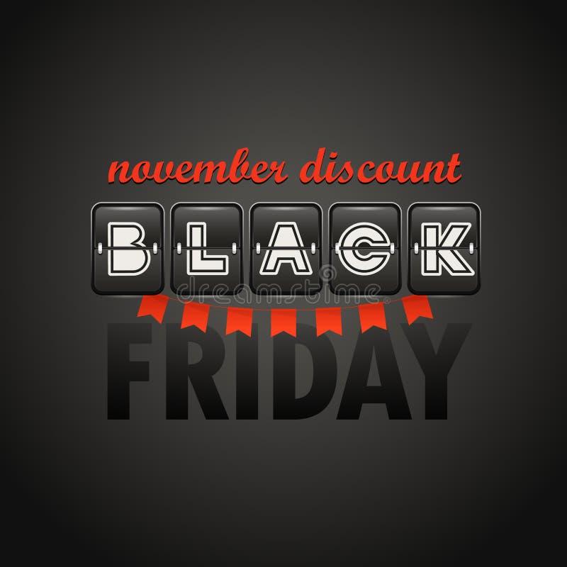 Plantilla del diseño del logotipo de la venta de Black Friday Descuento de noviembre ilustración del vector