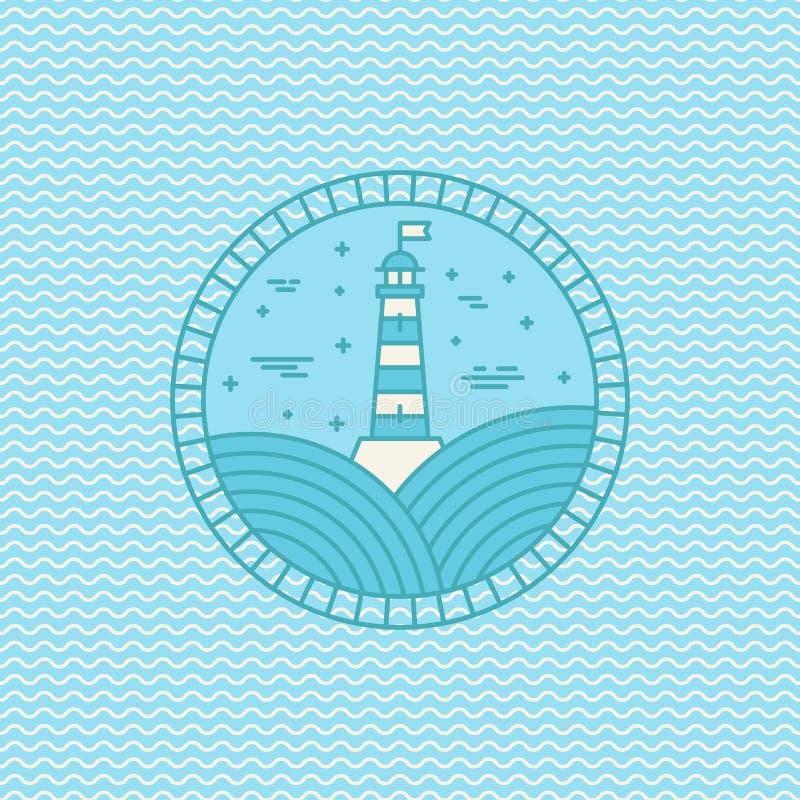 Plantilla del diseño del logotipo del faro del vector en estilo linear de moda libre illustration