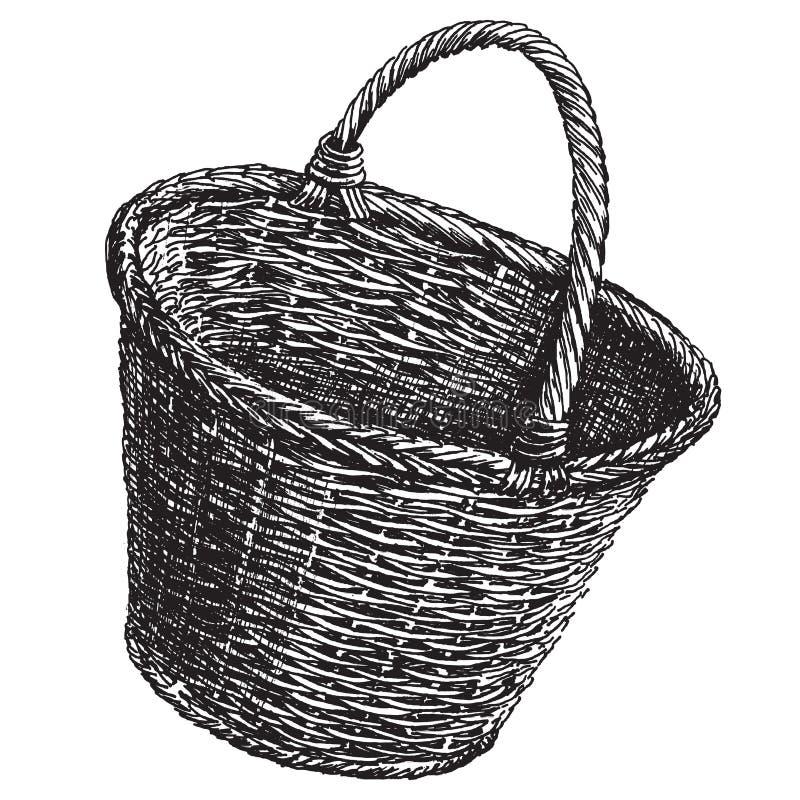 Plantilla del diseño del logotipo del vector de la cesta de mimbre ilustración del vector