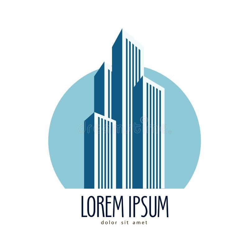 Plantilla del diseño del logotipo del vector de la ciudad rascacielos o stock de ilustración