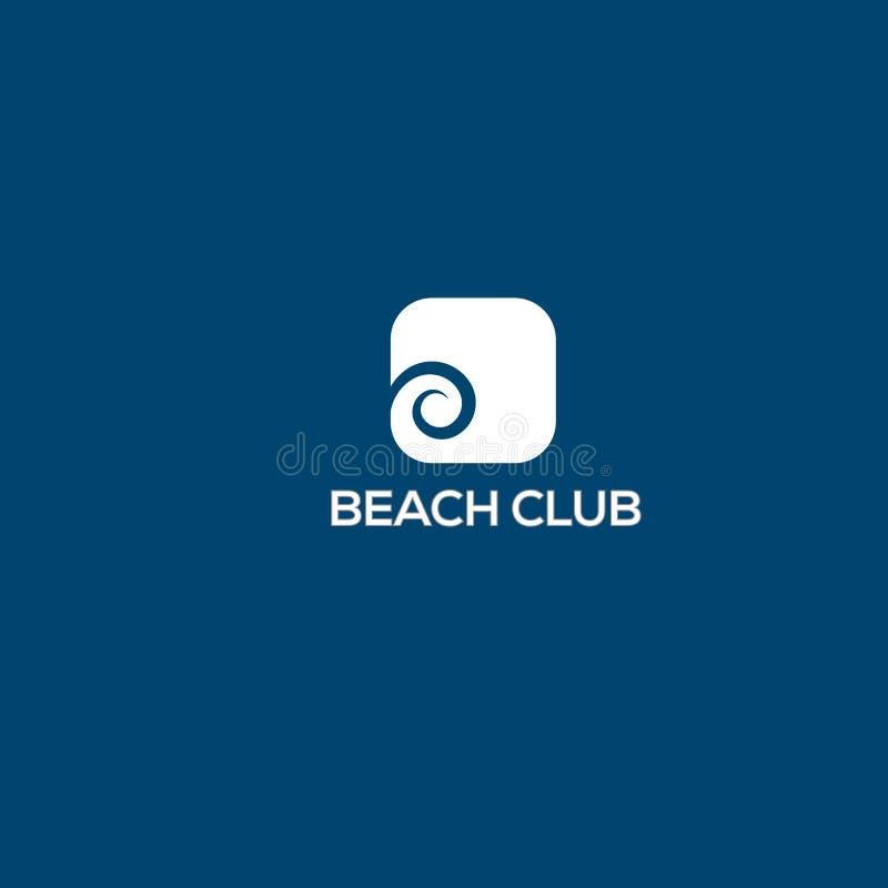 Plantilla del diseño del logotipo del vector de la playa Ejemplo de la onda y del sol stock de ilustración