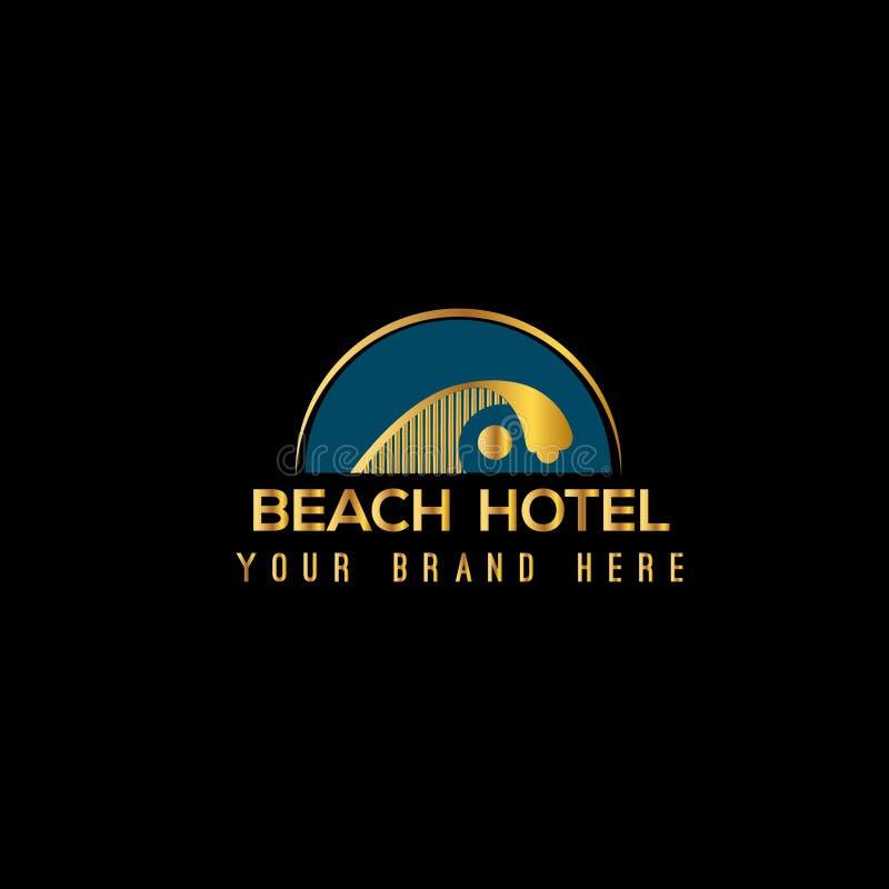 Plantilla del diseño del logotipo del vector de la playa Ejemplo de la onda y del sol libre illustration