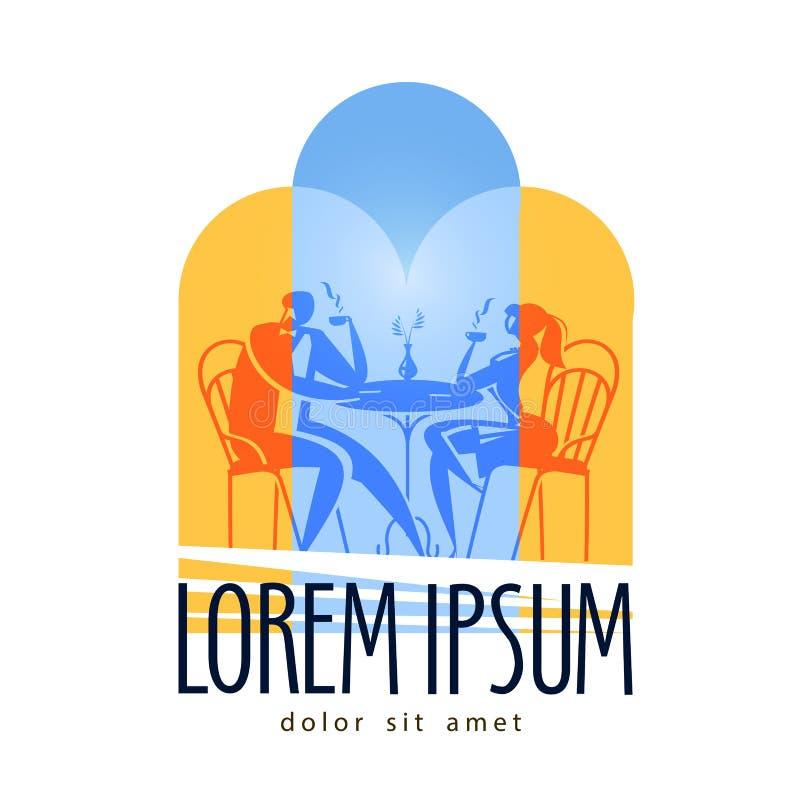 Plantilla del diseño del logotipo del vector de la tabla del restaurante Café stock de ilustración