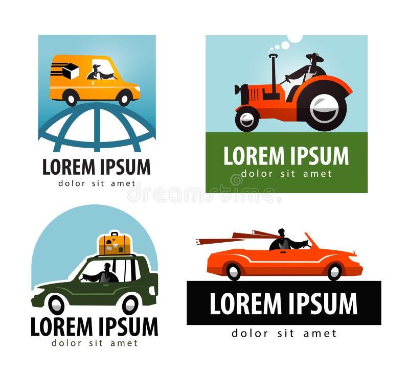 Plantilla del diseño del logotipo del vector del coche tractor o ilustración del vector
